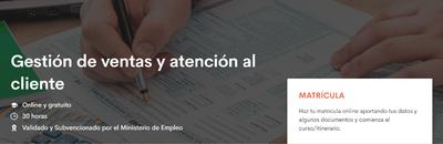 Curso de Gestión de ventas y atención al cliente